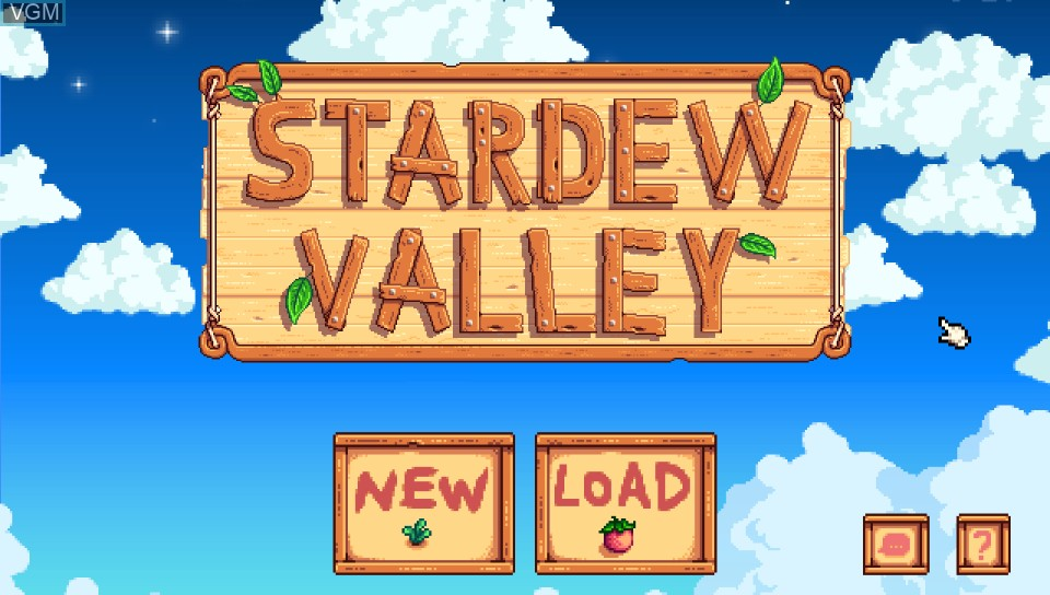 Title screen of the game Stardew Valley on Sony PS Vita