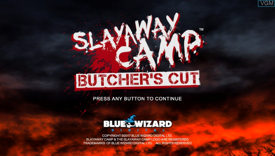 Title screen of the game Slayaway Camp - Butcher's Cut on Sony PS Vita