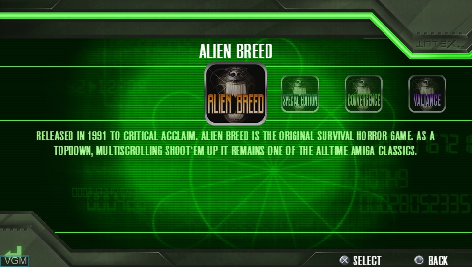 Menu screen of the game Alien Breed on Sony PS Vita