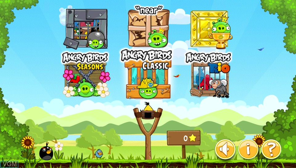 Menu screen of the game Angry Birds Trilogy on Sony PS Vita