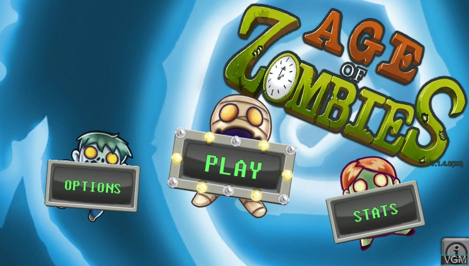 Menu screen of the game Age of Zombies on Sony PS Vita