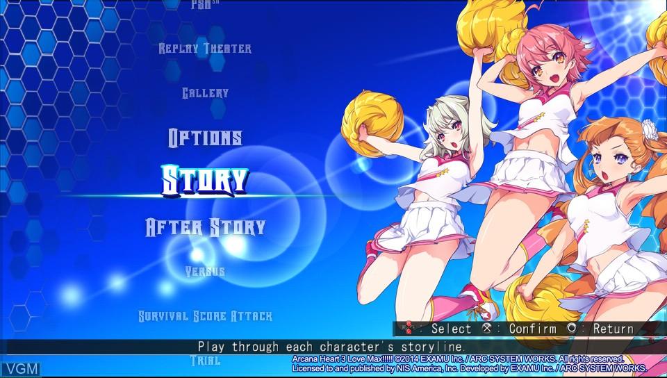 Menu screen of the game Arcana Heart 3 - LOVEMAX!!!!! on Sony PS Vita