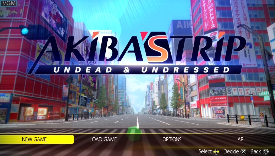 Menu screen of the game Akiba's Trip - Undead & Undressed on Sony PS Vita