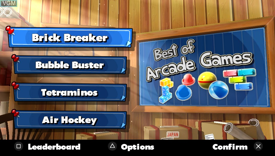 Menu screen of the game Best of Arcade Games on Sony PS Vita