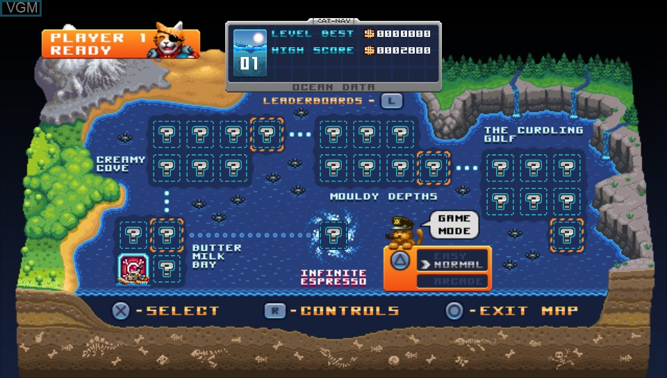 Menu screen of the game Aqua Kitty - Milk Mine Defender DX on Sony PS Vita