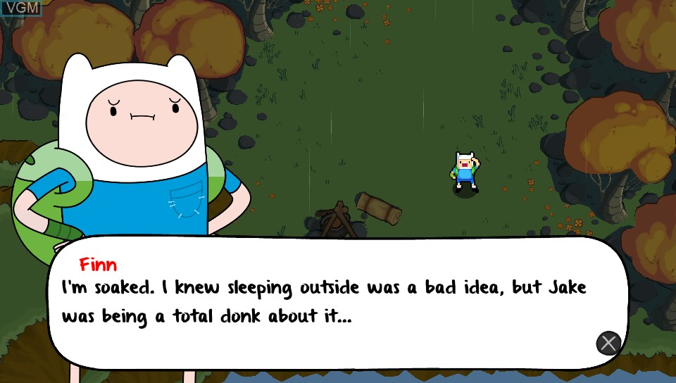 Menu screen of the game Adventure Time - The Secret of the Nameless Kingdom on Sony PS Vita
