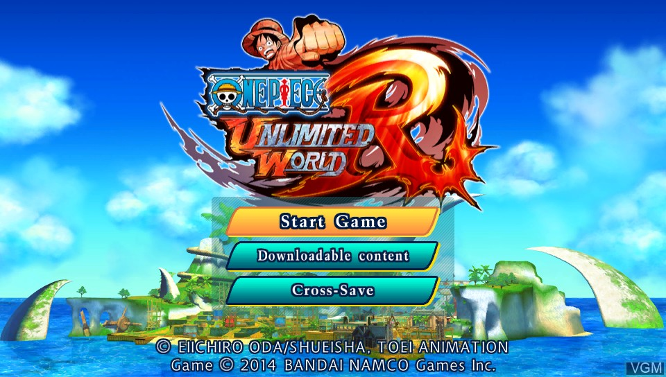 Menu screen of the game One Piece - Unlimited World Red on Sony PS Vita