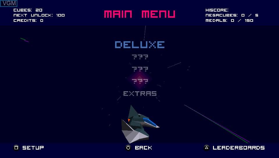 Menu screen of the game Futuridium EP Deluxe on Sony PS Vita