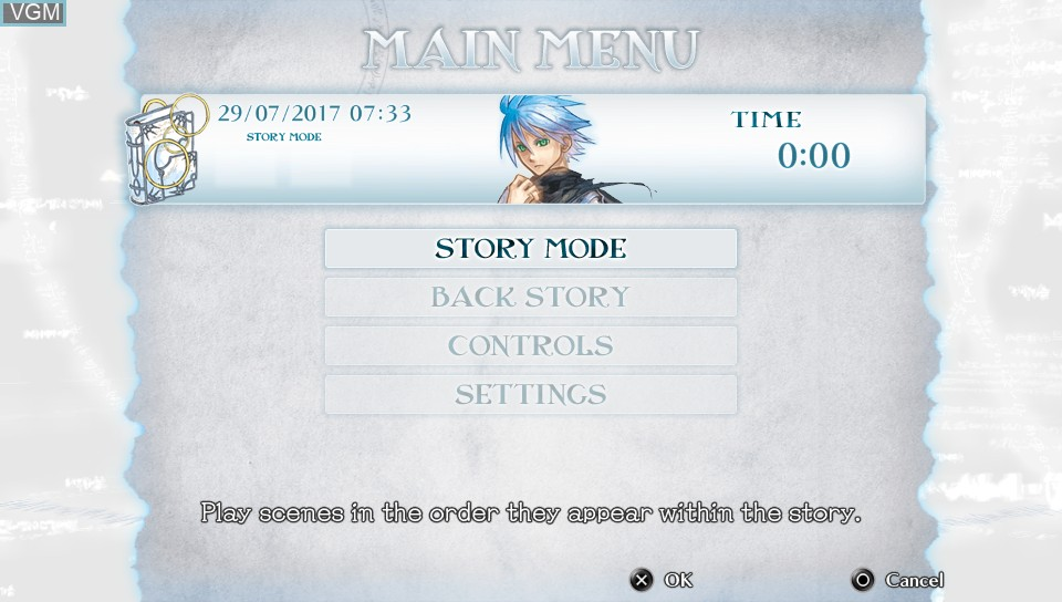 Menu screen of the game Malicious Rebirth on Sony PS Vita