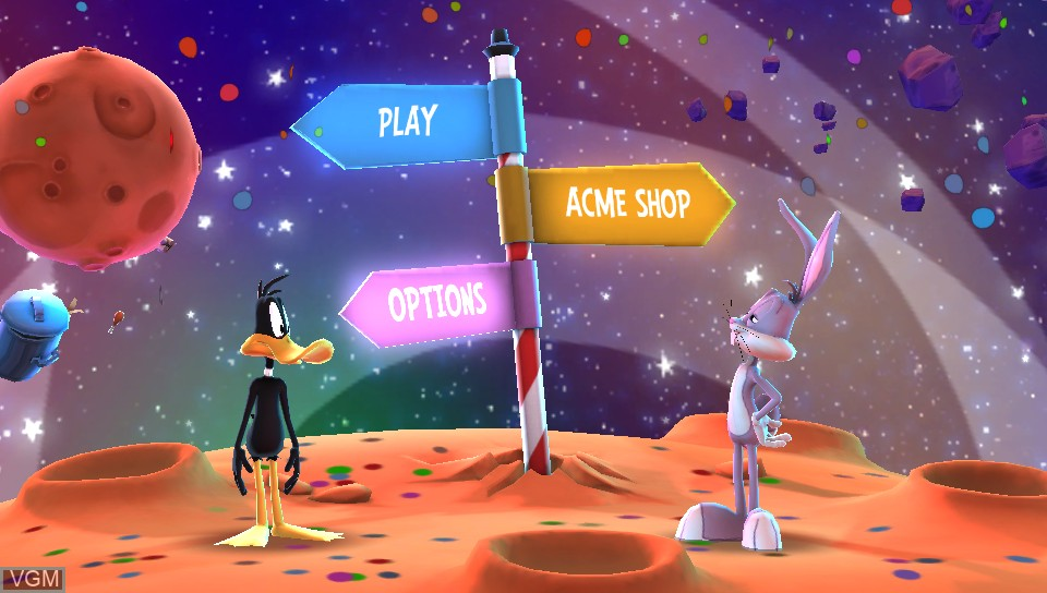 Menu screen of the game Looney Tunes - Galactic Sports on Sony PS Vita