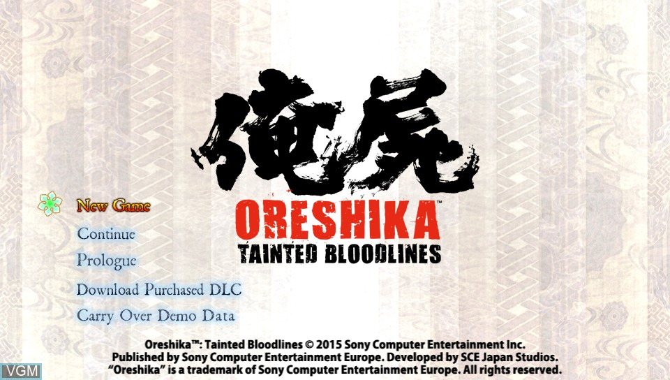 Menu screen of the game Oreshika - Tainted Bloodlines on Sony PS Vita