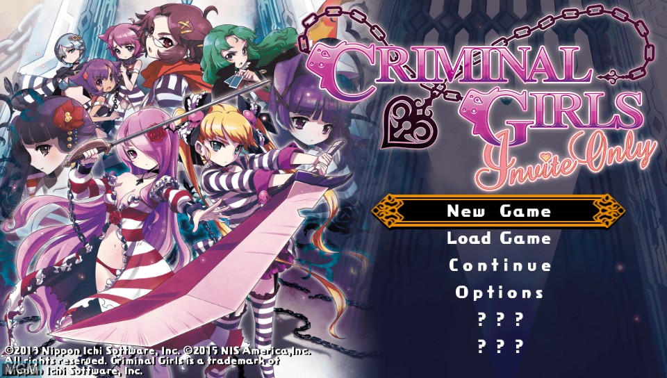 Menu screen of the game Criminal Girls - Invite Only on Sony PS Vita