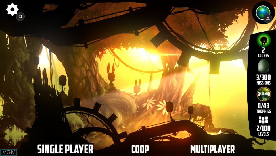 Menu screen of the game BADLAND on Sony PS Vita