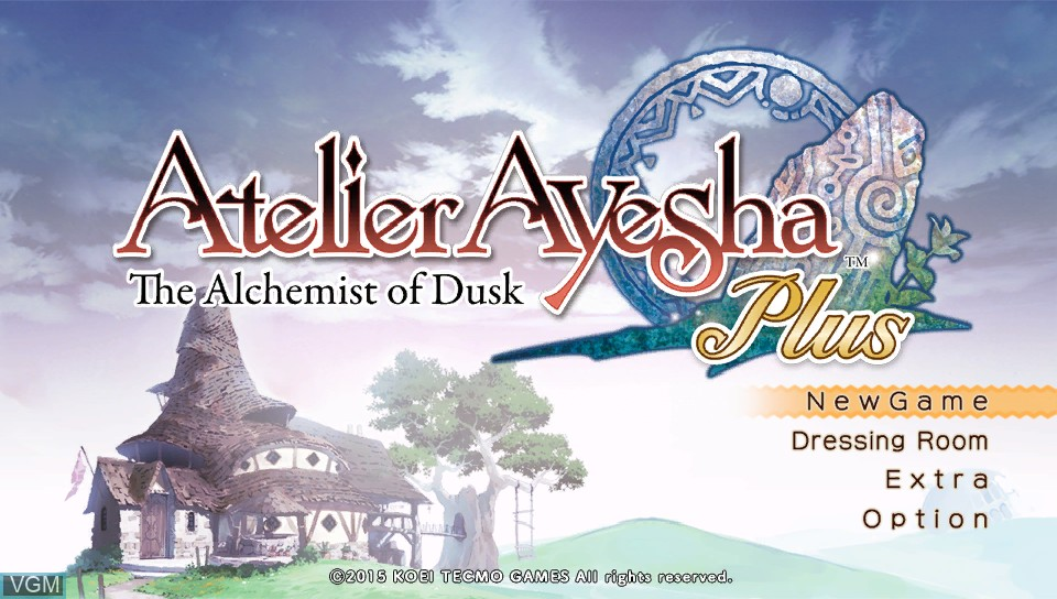 Menu screen of the game Atelier Ayesha Plus - The Alchemist of Dusk on Sony PS Vita