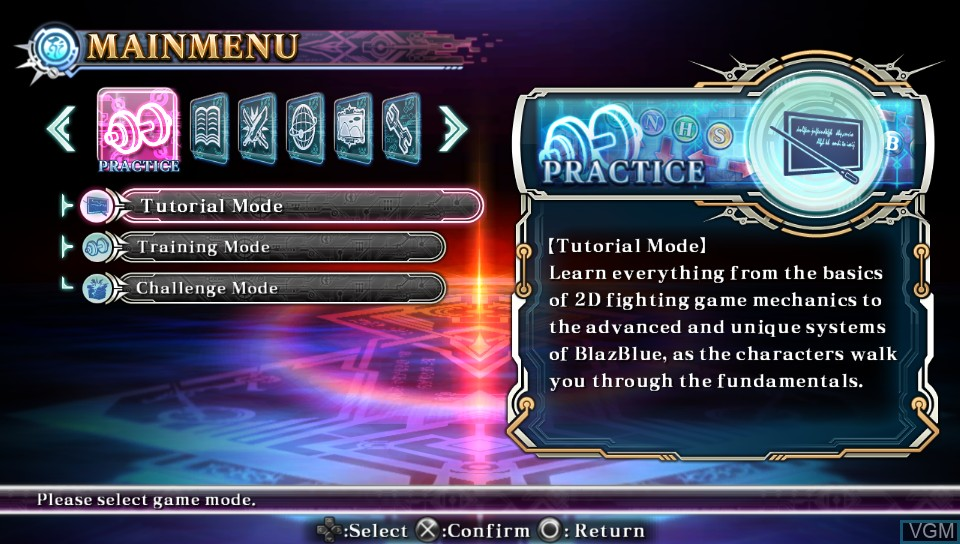 Menu screen of the game BlazBlue - Chrono Phantasma Extend on Sony PS Vita