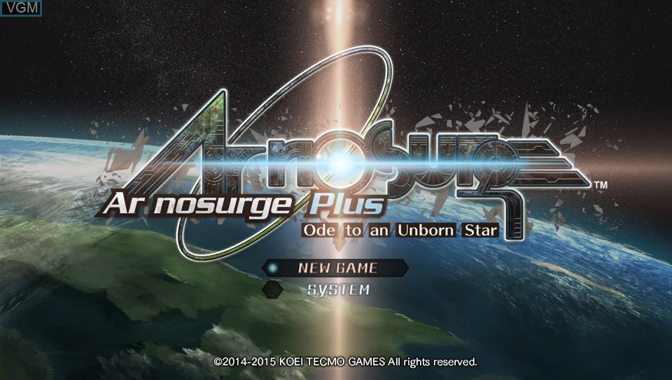 Menu screen of the game Ar nosurge Plus - Ode to an Unborn Star on Sony PS Vita