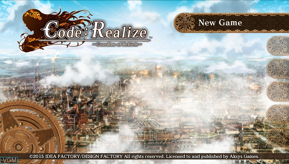 Menu screen of the game Code - Realize - Guardian of Rebirth on Sony PS Vita
