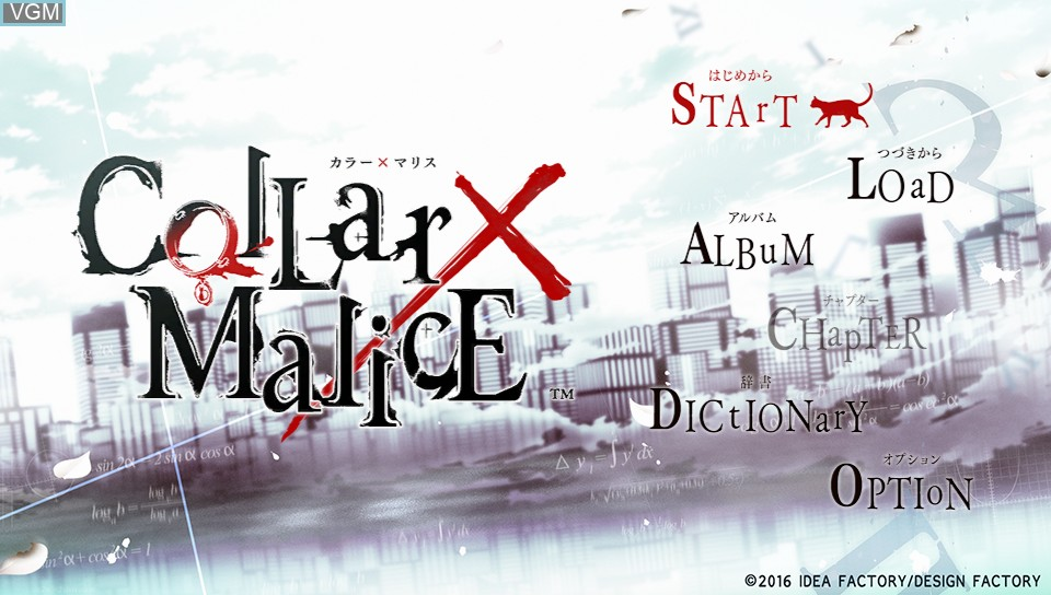 Menu screen of the game Collar x Malice on Sony PS Vita