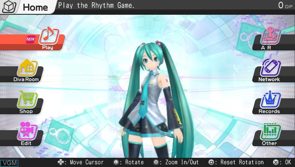 Menu screen of the game Hatsune Miku - Project Diva f on Sony PS Vita