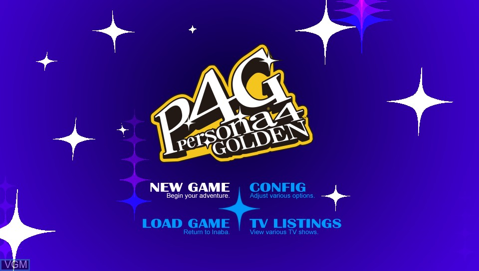 Menu screen of the game Persona 4 Golden on Sony PS Vita