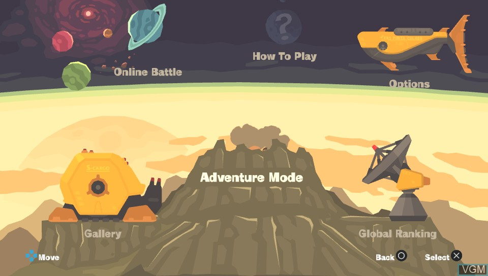 Menu screen of the game PixelJunk Shooter Ultimate on Sony PS Vita