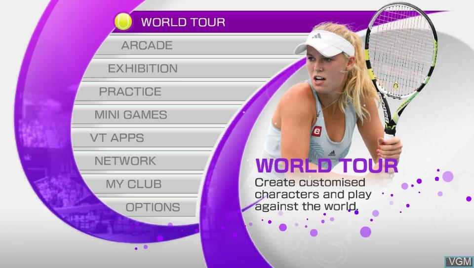 Menu screen of the game Virtua Tennis 4 - World Tour Edition on Sony PS Vita