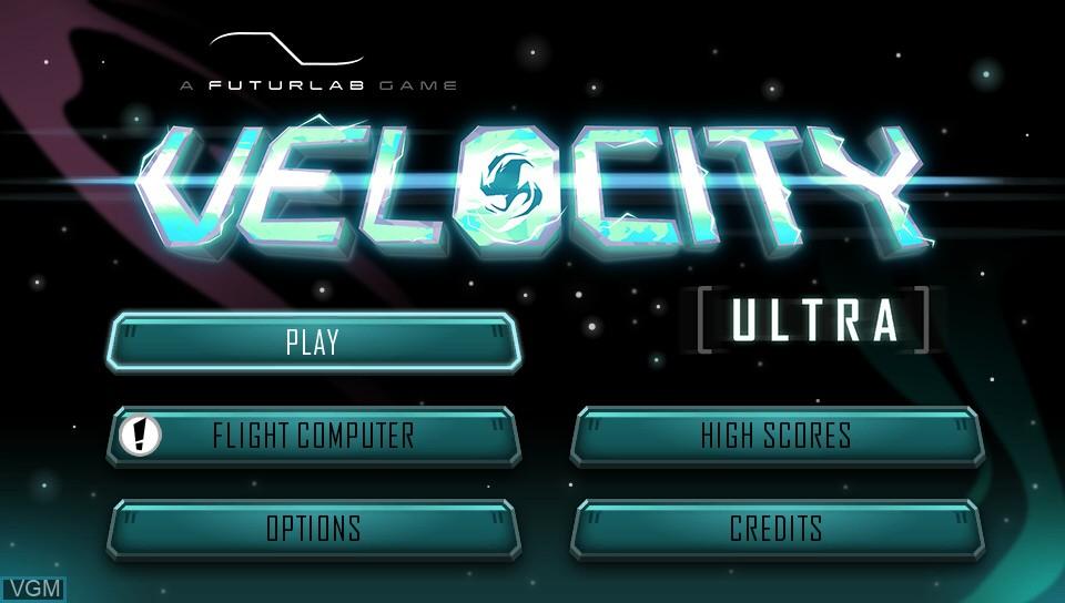 Menu screen of the game Velocity Ultra on Sony PS Vita