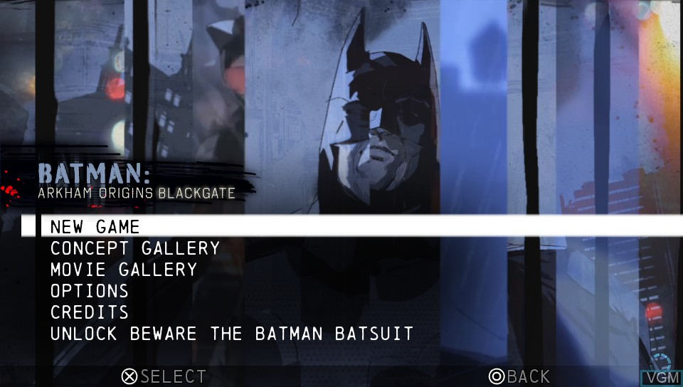 Menu screen of the game Batman - Arkham Origins Blackgate on Sony PS Vita