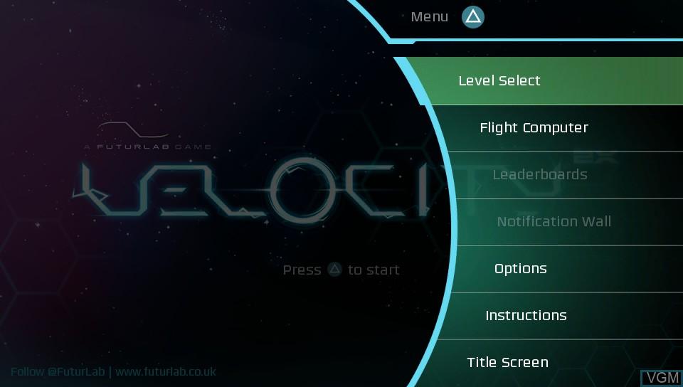 Menu screen of the game Velocity 2X on Sony PS Vita