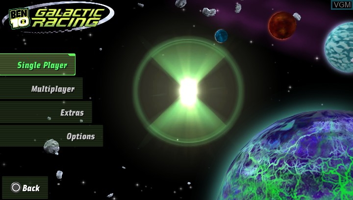 Menu screen of the game Ben 10 - Galactic Racing on Sony PS Vita