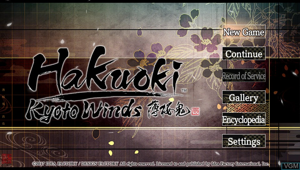 Menu screen of the game Hakuoki - Kyoto Winds on Sony PS Vita