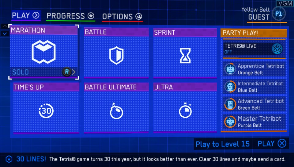 Menu screen of the game Tetris Ultimate on Sony PS Vita