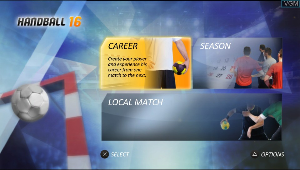 Menu screen of the game Handball 16 on Sony PS Vita