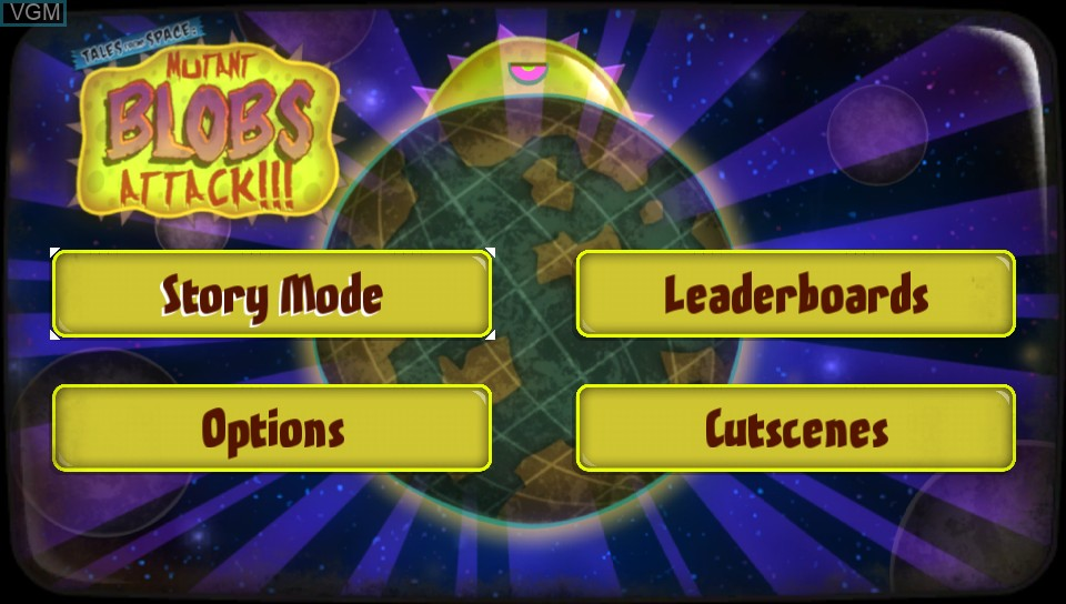 Menu screen of the game Tales From Space - Mutant Blobs Attack on Sony PS Vita