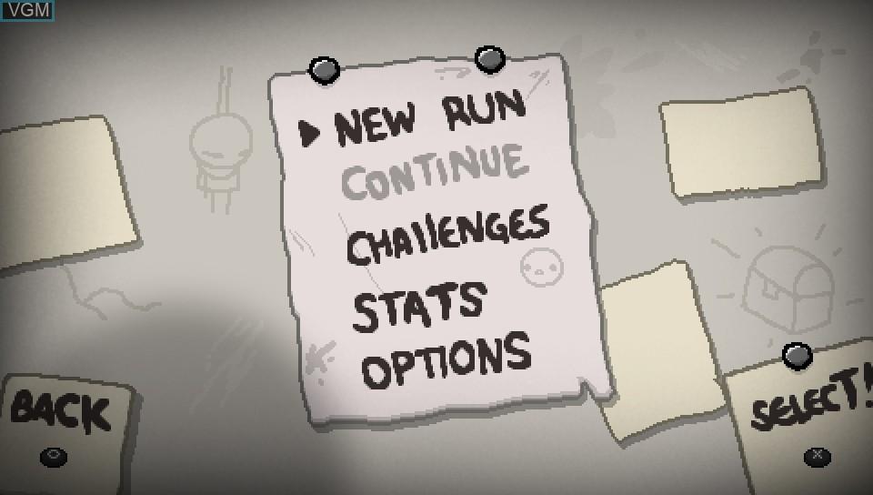 Menu screen of the game Binding of Isaac, The - Rebirth on Sony PS Vita