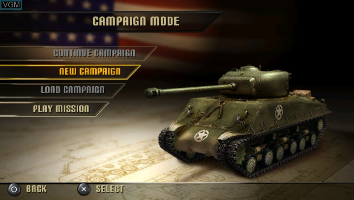 Menu screen of the game History Legends of War - Patton on Sony PS Vita