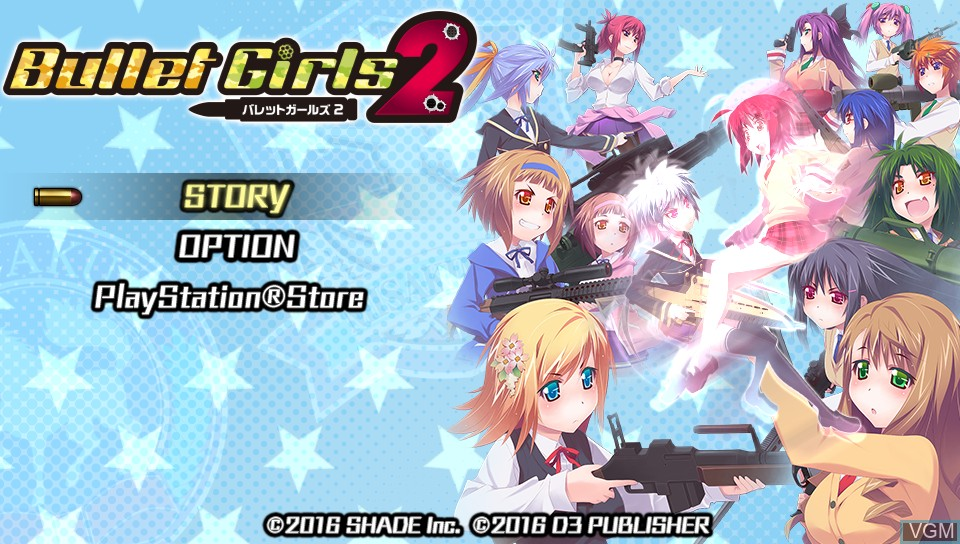 Menu screen of the game Bullet Girls 2 on Sony PS Vita