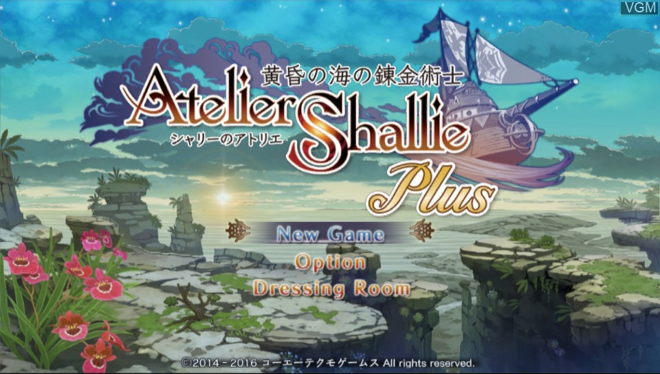Menu screen of the game Atelier Shallie Plus - Alchemists of the Dusk Sea on Sony PS Vita