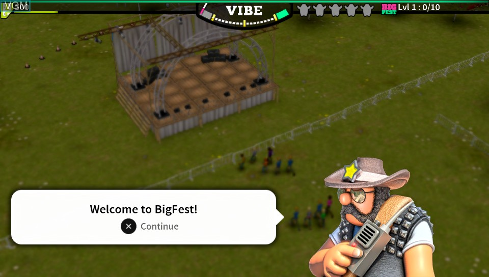 Menu screen of the game BigFest on Sony PS Vita