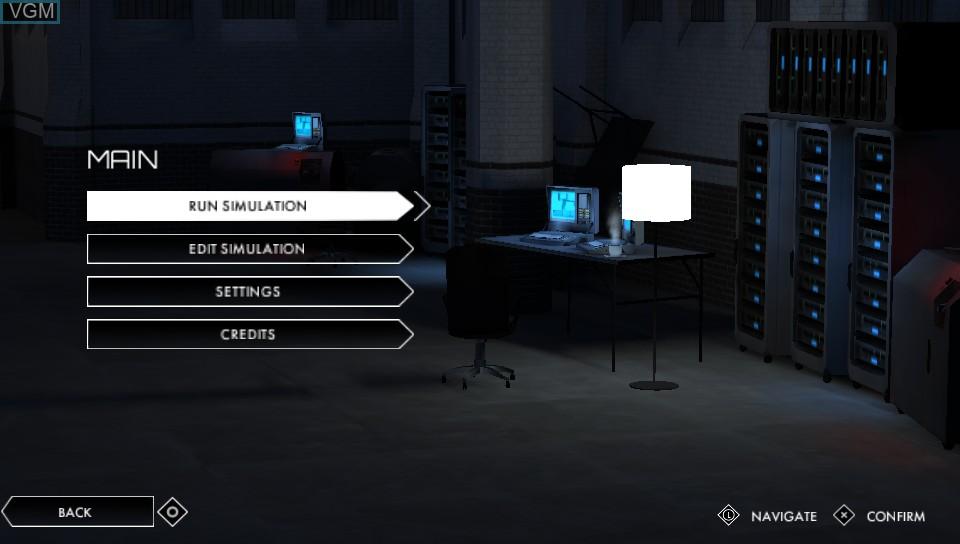 Menu screen of the game Volume on Sony PS Vita