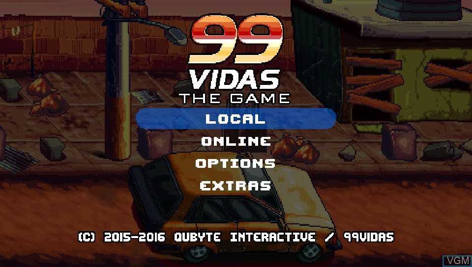 Menu screen of the game 99Vidas on Sony PS Vita