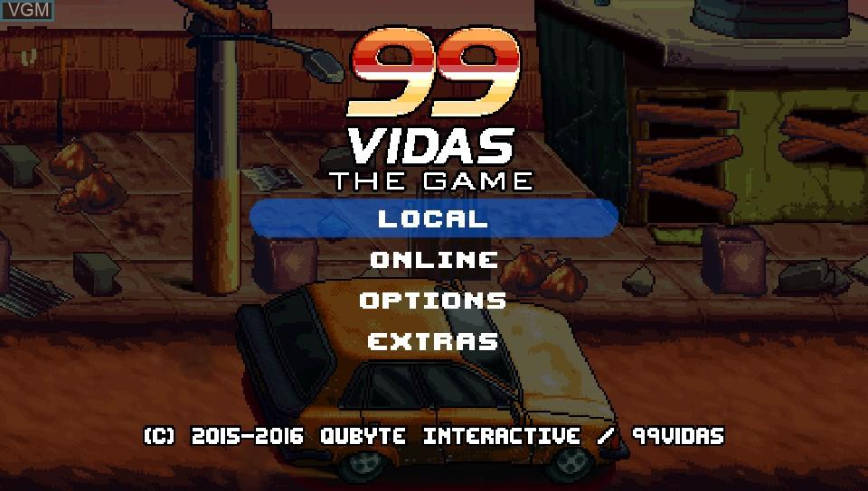 Menu screen of the game 99Vidas on Sony PS Vita