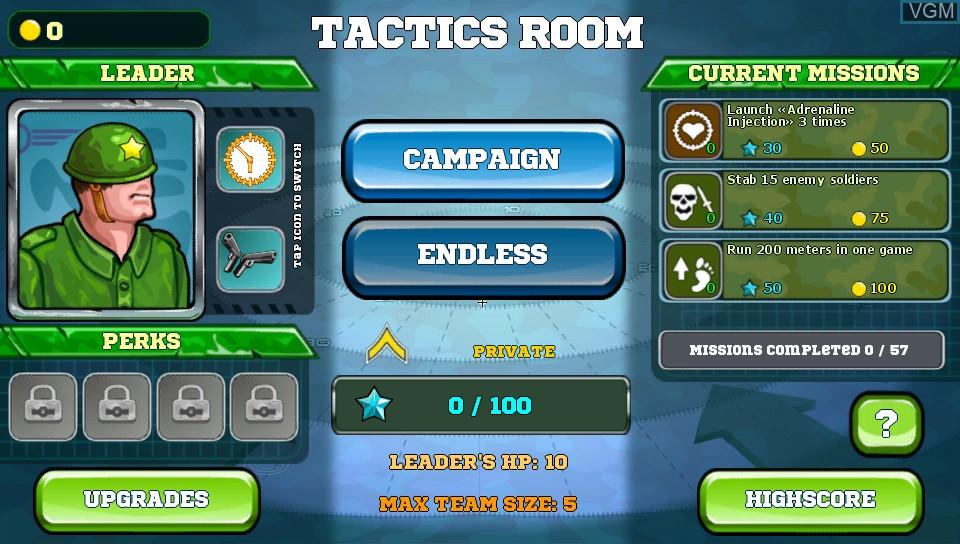 Menu screen of the game Battalion Commander on Sony PS Vita