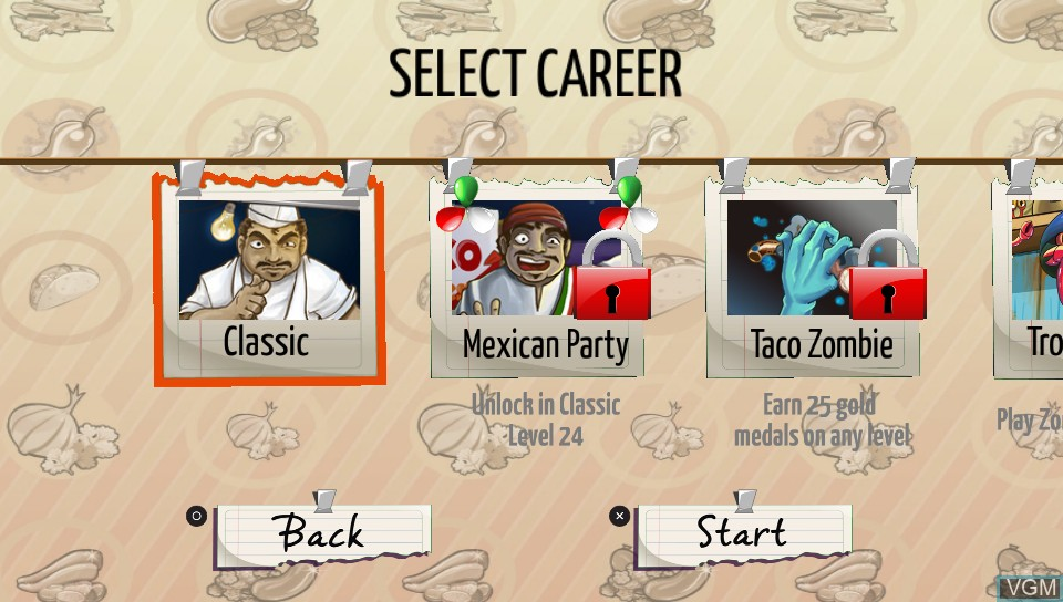 Menu screen of the game Taco Master on Sony PS Vita
