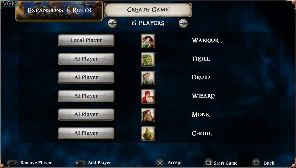 Menu screen of the game Talisman - Digital Edition on Sony PS Vita