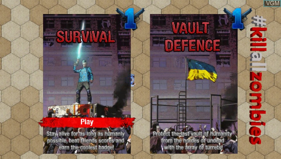 Menu screen of the game #KILLALLZOMBIES on Sony PS Vita
