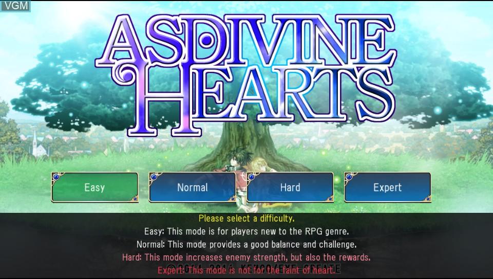 Menu screen of the game Asdivine Hearts on Sony PS Vita