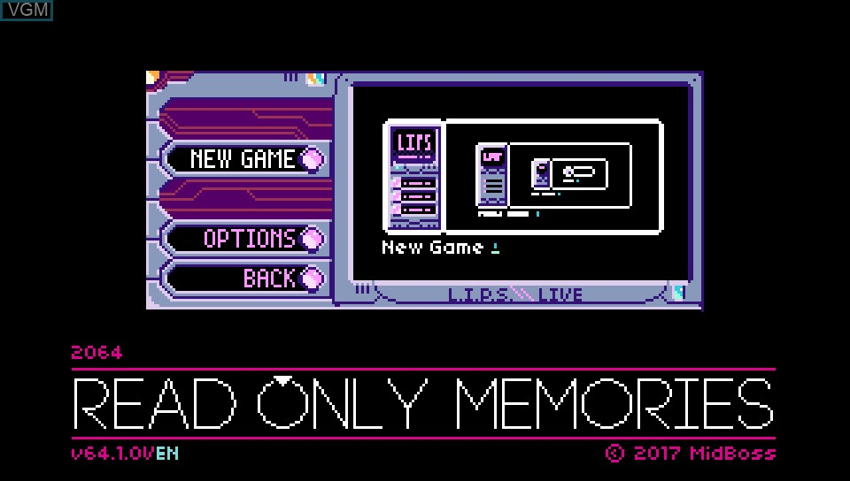 Menu screen of the game 2064 - Read Only Memories on Sony PS Vita