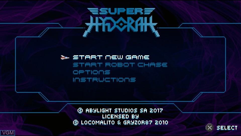Menu screen of the game Super Hydorah on Sony PS Vita