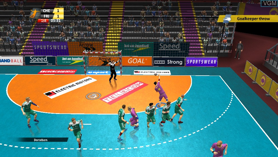In-game screen of the game Handball 16 on Sony PS Vita